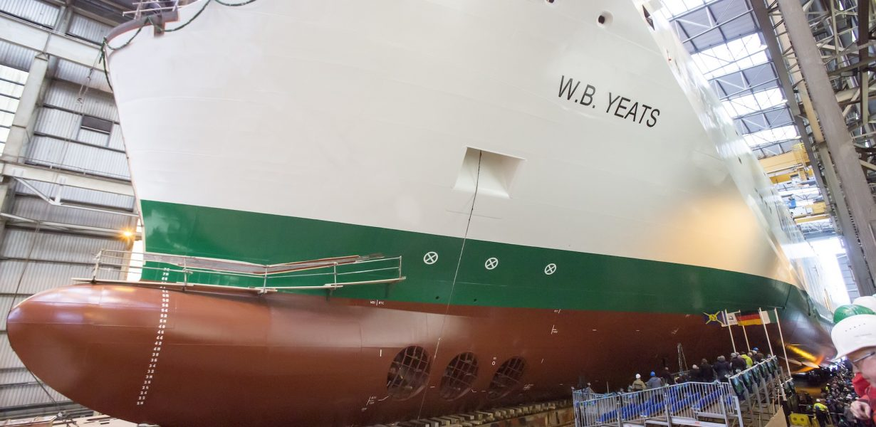 NEW IRISH FERRIES' CRUISE FERRY W. B. YEATS NAMED AT LAUNCH EVENT IN GERMANY